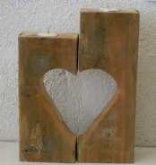 Wooden Heart T.light Holder