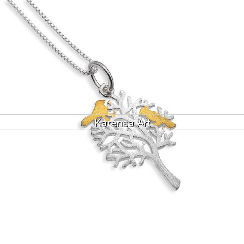 SGSTBN - Silver Tree with Gold Plated Birds Necklace